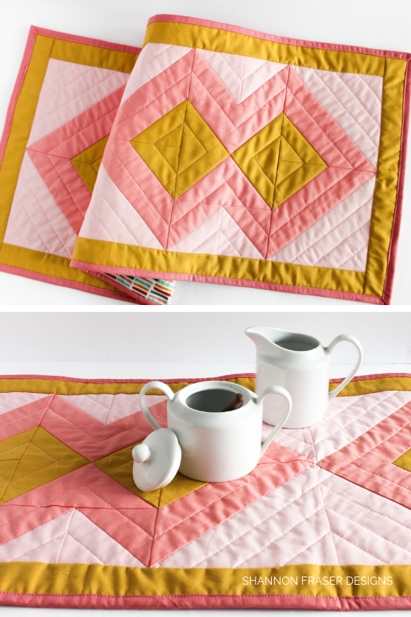 Figure Eight Table Runner | Pattern from Modern Quilts Block by Block book by Emily Dennis | Shannon Fraser Designs #diy #homedecor #modernquilting