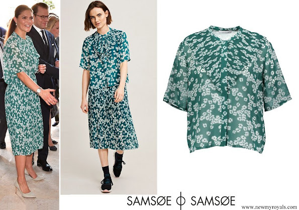 Crown Princess Victoria wore Samsøe & Samsøe Joanna ss shirt and Cathy skirt