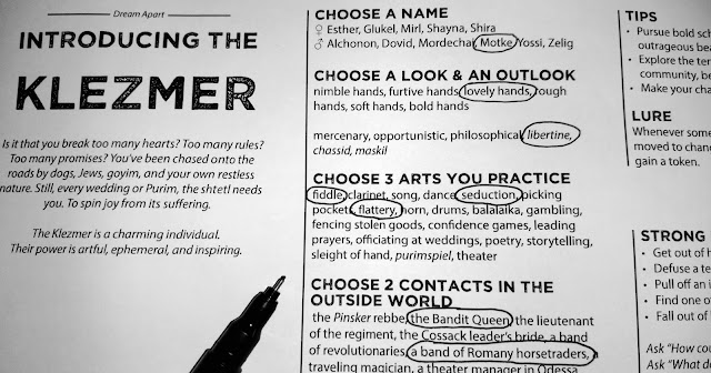 "A sheet of paper labeled ""Introducing the Klezmer"" with various lists of options for players to choose from, some already circled."