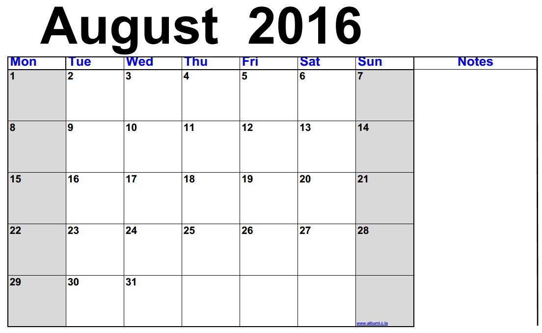 2016 blank calendar calendar en www albumi c la august 2016