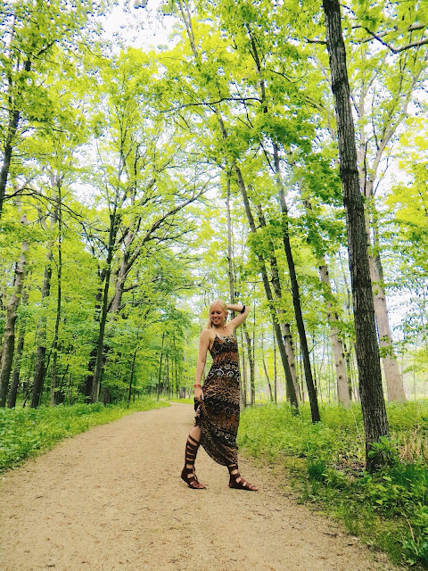 tribal print dress, AMI Clubwear gladiator sandals, Soko porcupine quill-inspired earrings, New Histories skull ring, second hand outfit, up cycled outfit, forest, forest preserve, boho outfit, bohemian outfit, summer outfit, maxi dress