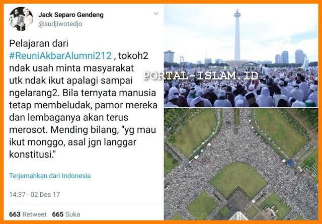 MAKJLEB! Sujiwo Tejo: Pelajaran Reuni Akbar 212, Tokoh gak usah Larang2, Massa membludak Pamor merosot