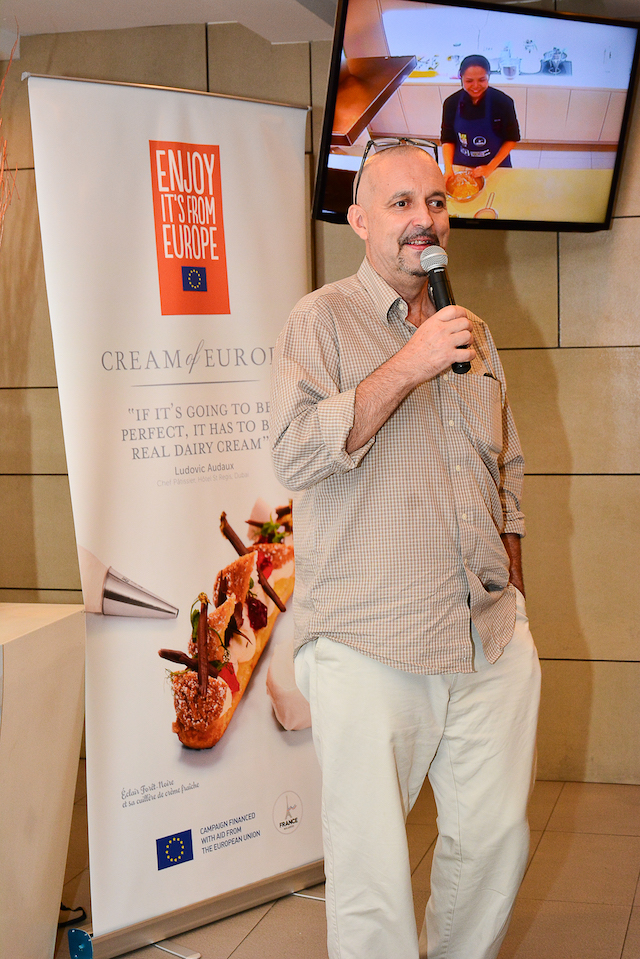 Chef Jean Michel Fraisse giving a theoretical introduction of European Cream