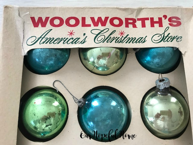 blue green Shiny Brite glass ornament