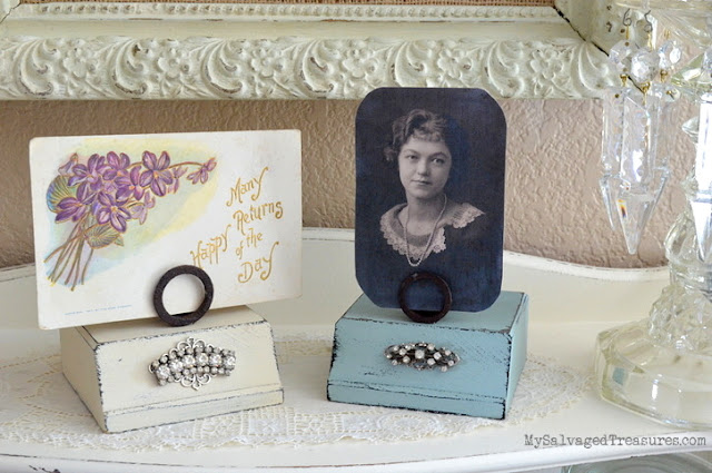 Picture and Card holders repurposed from trophy bases, springs, and rhinestones