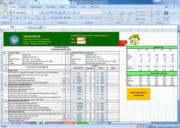 Aplikasi SKP Guru PNS Tahun 2017 Format Microsoft Excel