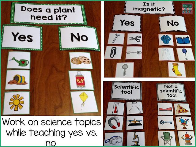 science sorting center, teaching yes versus no