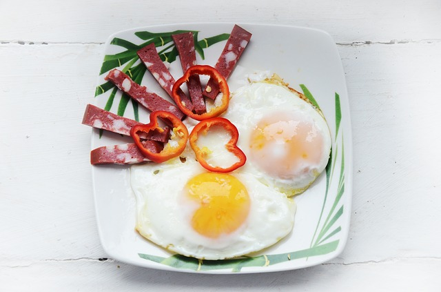 2 Fried Eggs, A Few Salami Strips, and 3 Bell Pepper rings