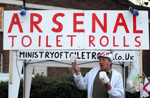Arsenal toilet rolls for sale outside White Hart Lane