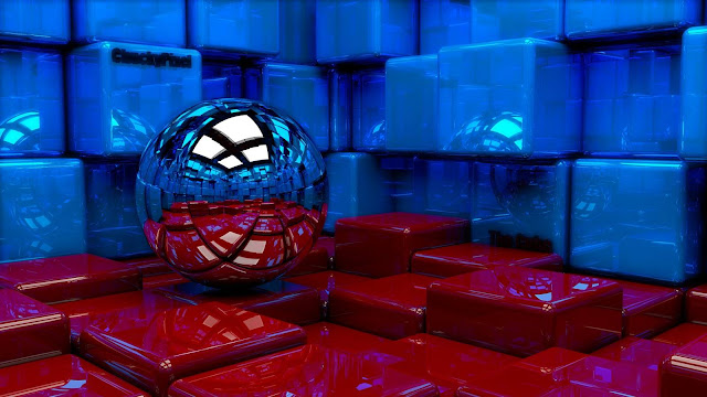 Ball cubes metal blue red reflection 1600x900