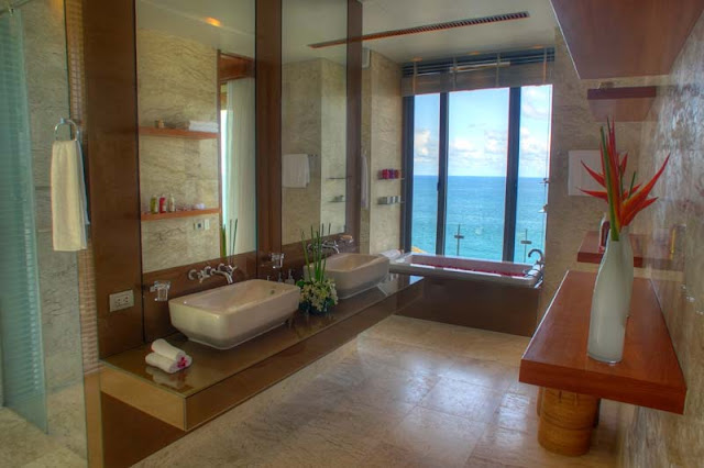 Two sink modern bathroom in the Villa Liberty, Phuket