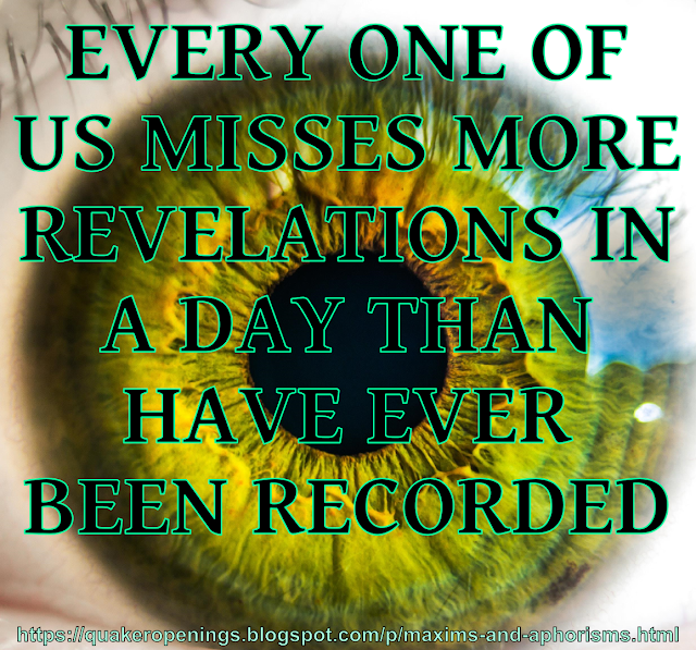 """A close-up image of a human eye. Text overlay reads """"Every one of us misses more revelations in a day than have ever been recorded."""""""