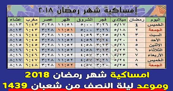امساكية رمضان 1438 لعام 2018 وموعد ليلة النصف من شعبان ومدة الصيام في رمضان 2018 وموعد اذان الفجر والمغرب