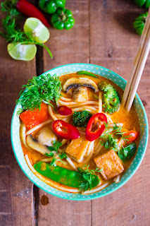 Malaysian Laksa Lemak or Curry Laksa. Vegan spicy asian noodle soup