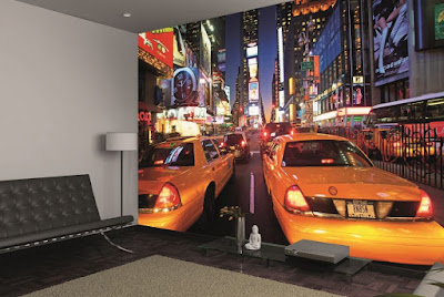 new york tapet taxi bilar fototapet 3d
