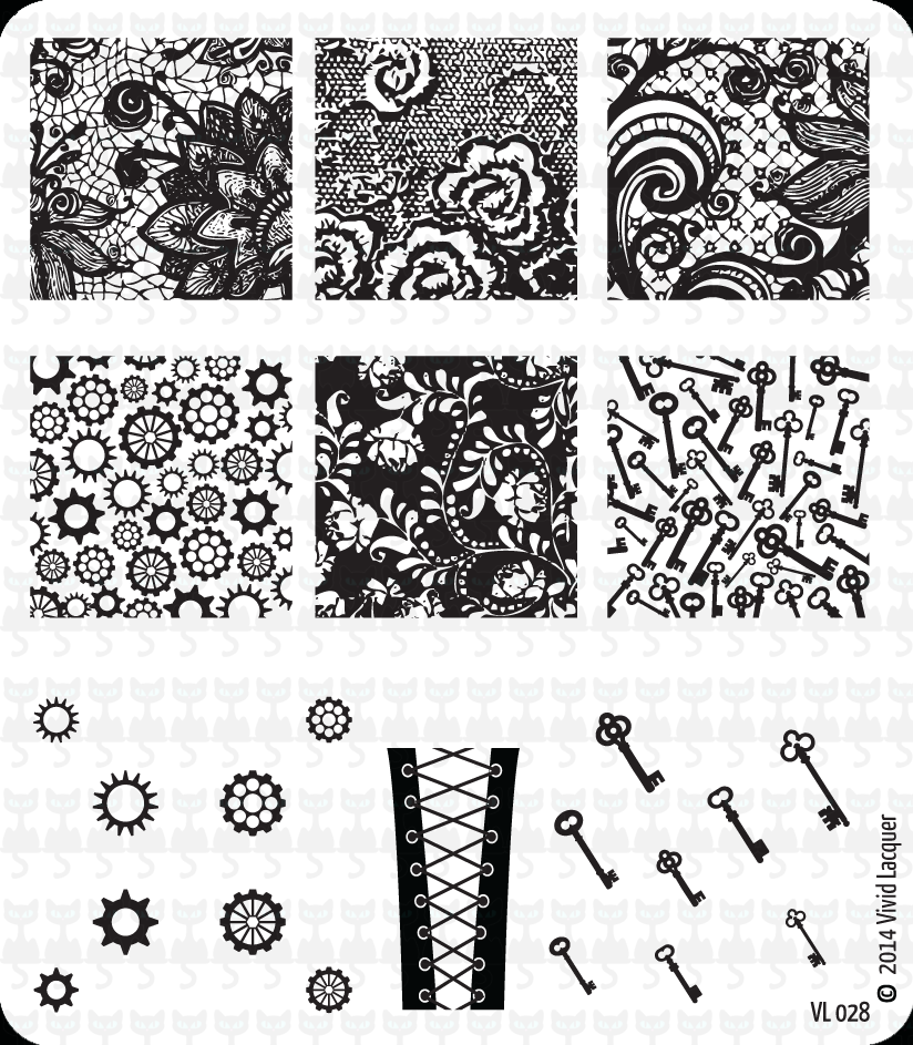 Lacquer Lockdown - Vivid Lacquer, VL024, stamping, nail art, new plates 2014, new nail art plates 2014, new image plates 2014, new stamping plates 2014, VL027, cats, dogs, parrots, rescue animal nail art, diy nails, nail art, cute nails, cute nail art ideas, easy nail art, pueen 2014, lace, corsets, cogwheels, keys