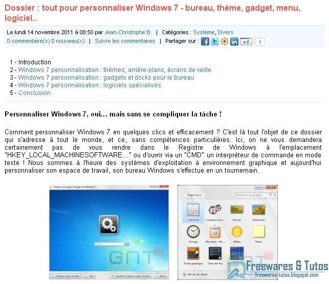 Le site du jour tout pour personnaliser windows 7 Tout pour le bureau