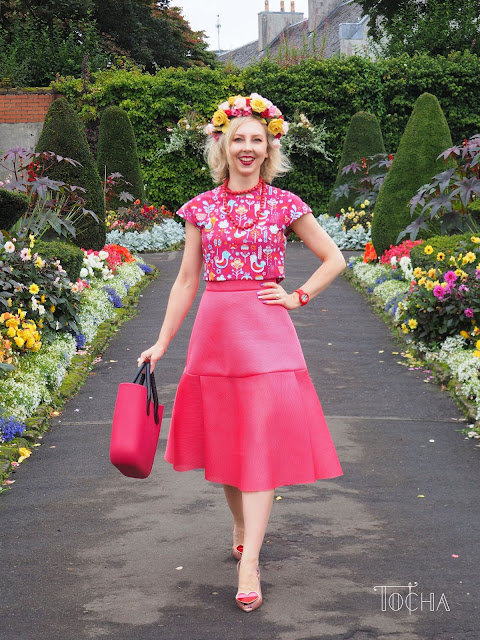 birds, coral, crop top, flower crown, garden, Glasgow, House for an Art Lover, mid-length skirt, Obag, printed cotton, sewing pattern, Vivienne Westwood, Vogue, wedding anniversary, neoprene net, bonded jersey net,
