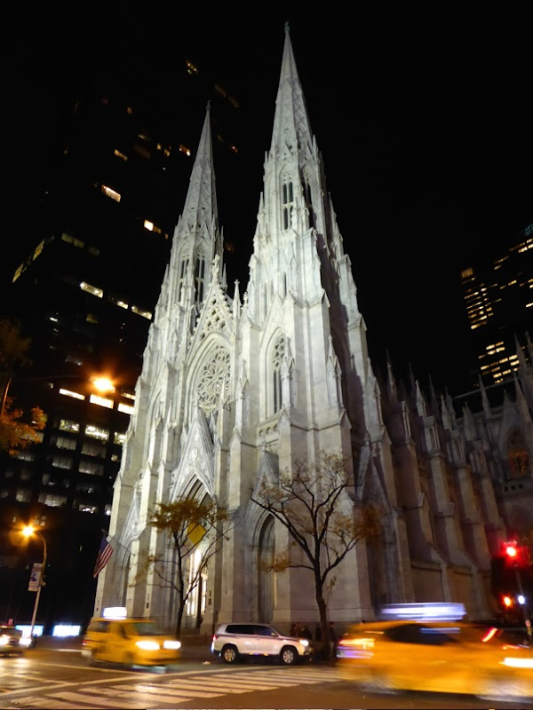 St Patricks Cathedral night NYC