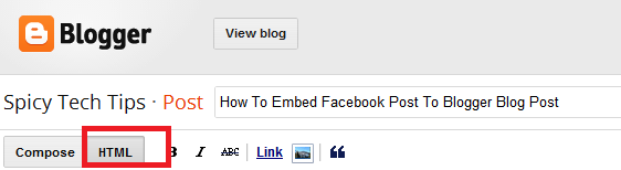 embed facebook post to blogger