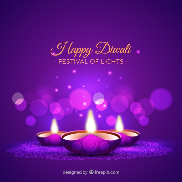 Purple background of diwali candles Free Vector