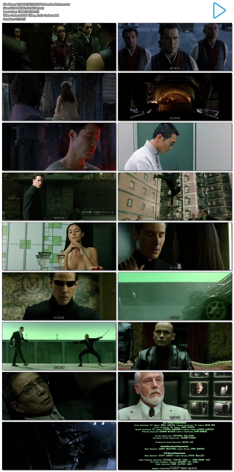 The Matrix Reloaded 2003 Hindi Dual Audio 720p HEVC BluRay Free Download