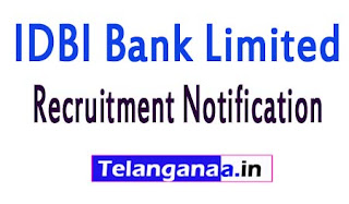 IDBI Bank Limited Recruitment Notification 2017