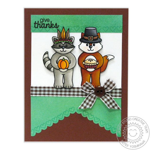 Sunny Studio Stamps: Woodsy Creatures & Fishtail Banners Thanksgiving Card by Mendi Yoshikawa