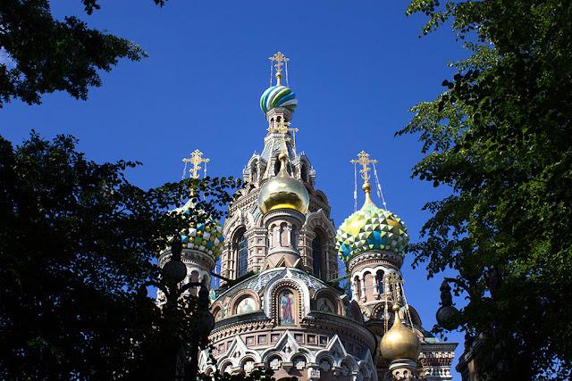 Спас на Крови вид на купола храма со стороны Михайловского парка