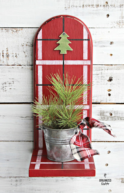 Thrifted Paper Towel Holder to Rustic Plaid Christmas Decor organizedclutter.net