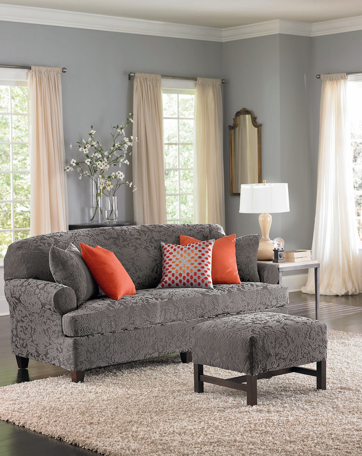 Gray Chair And Ottoman Slipcovers Bedroom Hanging Cheap Sure Fit Slipcovers: What's Our New Hue? -- Grey Blue!