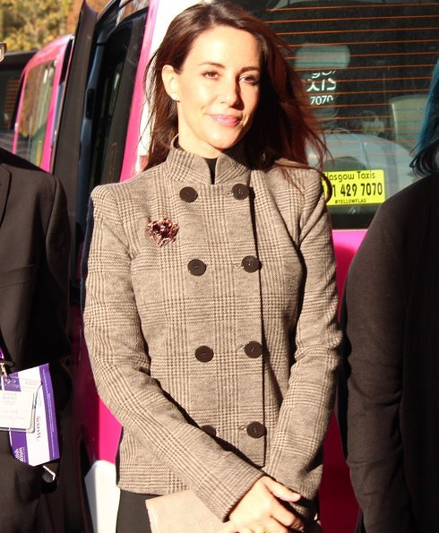 Princess Marie wore her Giorgio Armani beige wool button front fashion jacket at the Scottish Autism 50th Anniversary Conference in Glasgow