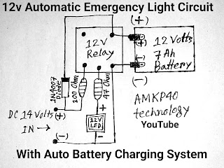 12 volt automatic emergency light circuit diagram: by_ amkp40 technology ( youtube)