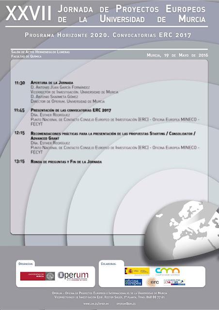 """XXVII Jornada Operum """"Programa H2020 - Convocatorias ERC 2017"""""""