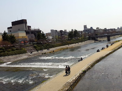 Kamogawa River in Kyoto Gion Japan