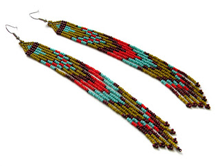 long fringe earrings beaded jewelry beadwork beadwoven earrings