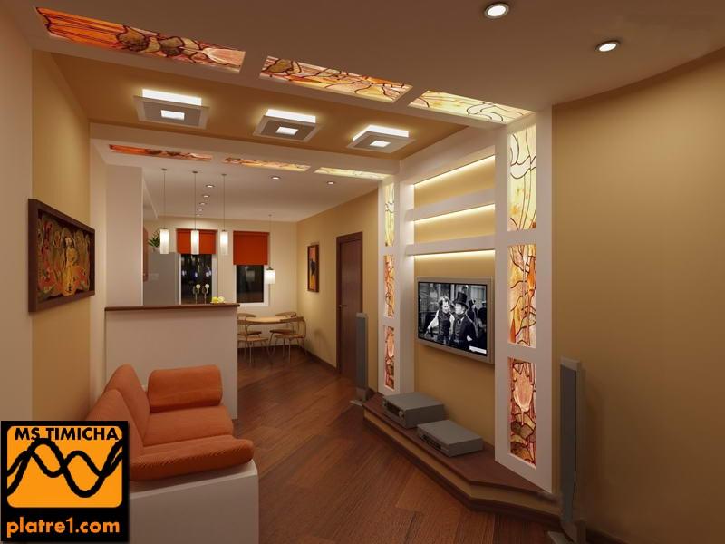 Decoration platre plafond for Chambres a coucher modernes simples