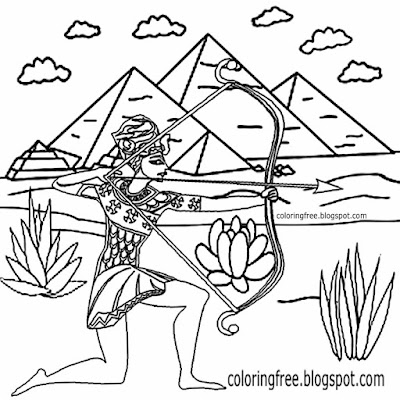 Easy teenage drawing Egypt royal guard Egyptian worrier bow and arrow archery coloring for beginners