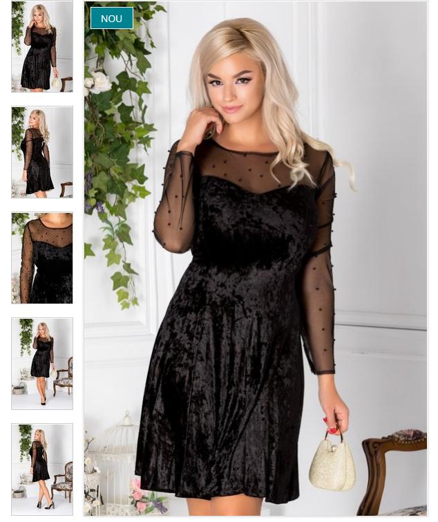 Rochie eleganta scurta clos neagra din catifea cu reflexe si perle