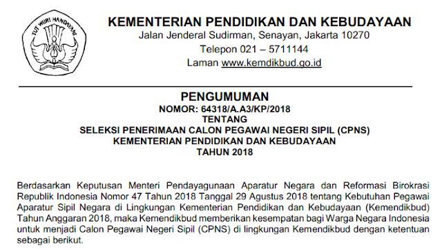 Pengumuman Penerimaan CPNS Kemdikbud Tahun  PENGUMUMAN PENERIMAAN CPNS KEMENDIKBUD TAHUN 2018