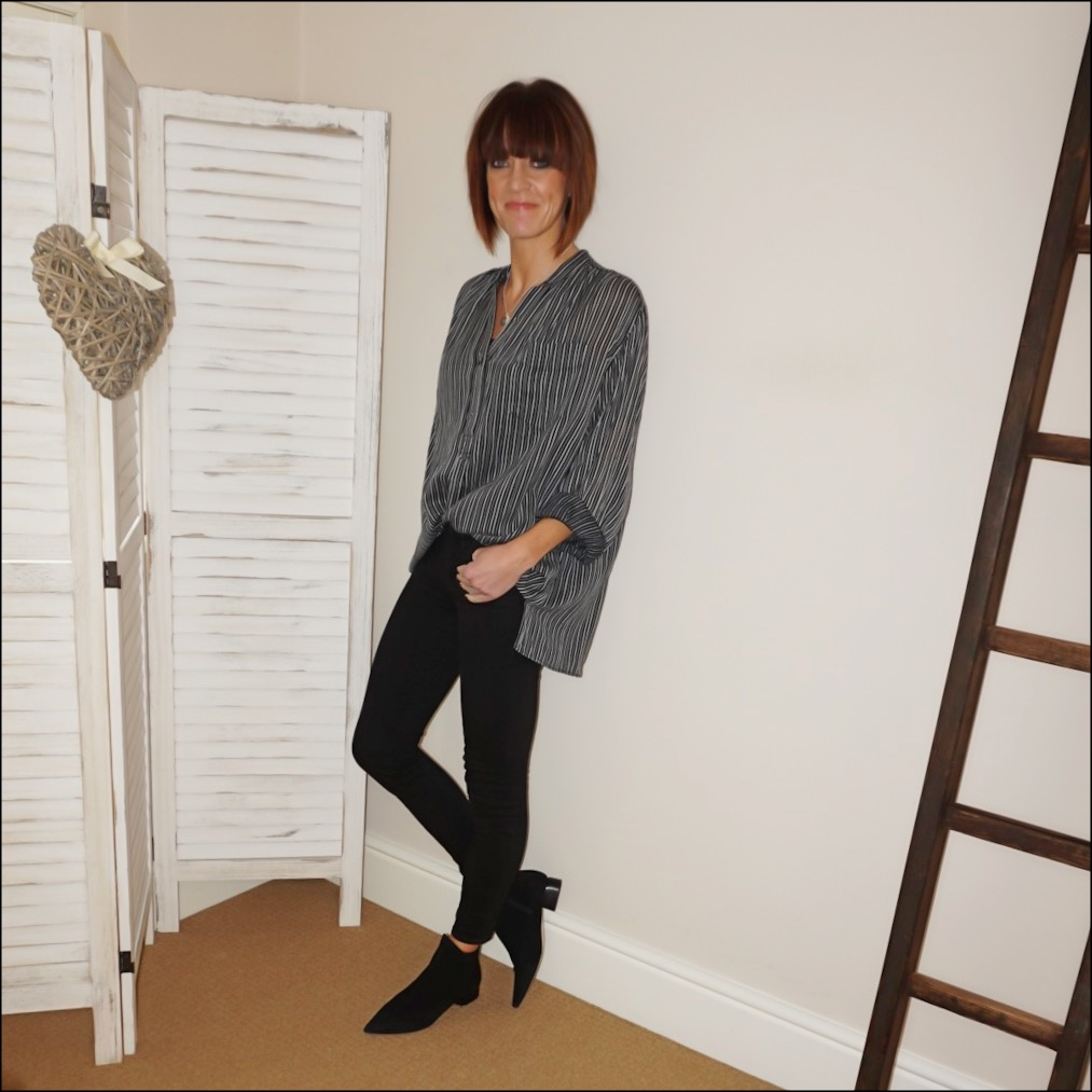 my midlife fashion, isabel marant etoile stripe blouse, j crew stretchy toothpick jean in true black
