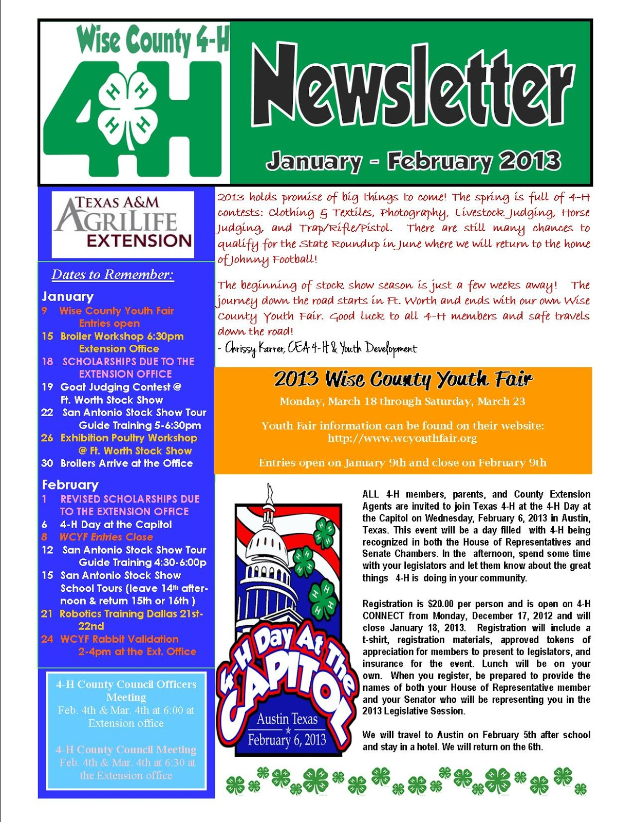 texas a m agrilife extension wise county 4 h newsletter for jan feb. Black Bedroom Furniture Sets. Home Design Ideas