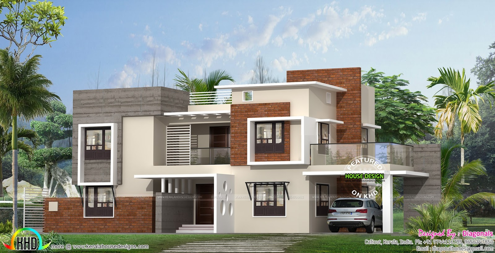 Box model modern flat roof home plan kerala home design for New model veedu photos