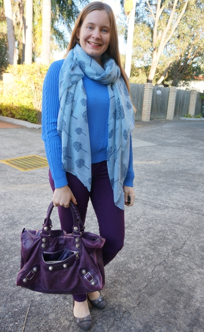 blue knit jumper with printed scarf, purple skinny jeans and Balenciaga work bag SAHM style | awayfromtheblue