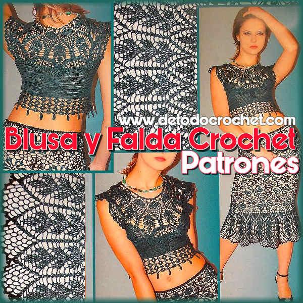 blusa y falda crochet patrones gráficos de revista rusa