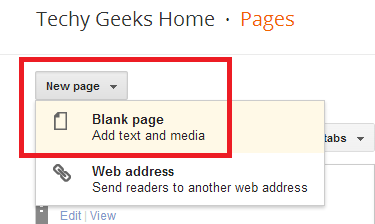 How to add a custom static page to your blog and not adding it to your menu tabs - Google Blogger 2