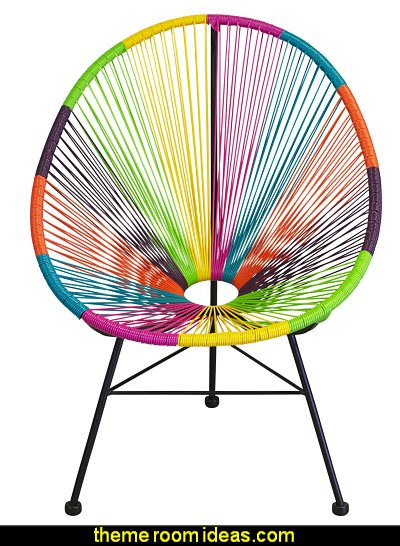 Acapulco Chair Multicolor  Groovy Funky Retro Bedroom Pictures - 60s style theme decorating -  70s theme decorating - Funky Flower Power Bedrooms - 70's Theme Decor - 70s theme bedroom decorating - Psychedelic  Tie Dye Hippie Hippy style flower power era