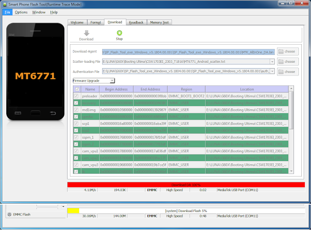 Proses flash luna G60X sedang berjalan