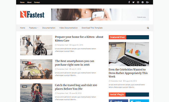Download Free Premium Fastest Fast Loading Blogger Template