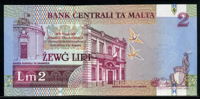 Malta currency Lm 2 Maltese liri banknote